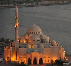 """The mosque next to """"Khaled Lake"""" in Sharjah, United Arab Emirates."""