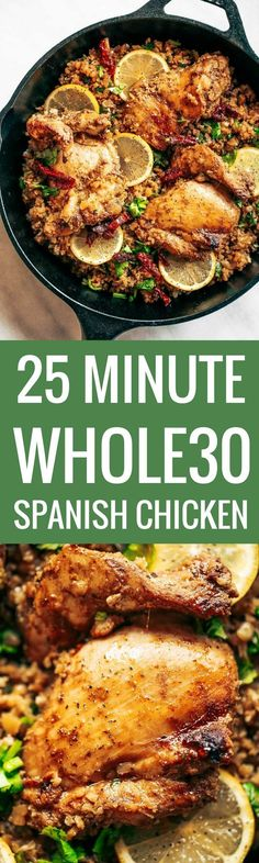 One pan Spanish cauliflower rice made in 25 minutes! Bursting with flavor! Paleo and whole30 friendly. Made with lemon, cilantro, chicken, and cauliflower rice. This one-pan skillet recipe makes for fast and easy meal prep that tastes delicious! whole30 meal plan. Easy whole30 dinner recipes. Easy whole30 dinner recipes. Whole30 recipes. Whole30 lunch. Whole30 meal planning. Whole30 meal prep. Healthy paleo meals. Healthy Whole30 recipes. Easy Whole30 recipes. Easy whole30 dinner recipes.