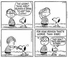 Snoopy and the art of cleaning glasses.