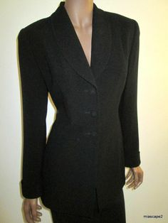 ZELDA Blazer Suit Jacket USA *Black Crepe* High End +Triple Button Lined S 6 EUC