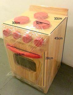 juego de cocina de madera para chicos artesanal 45x30x30cm