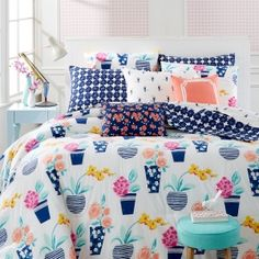 Whim by Martha Stewart Collection Pretty in Pots Bedding Collection, Only at Macy's - Bedding Collections - Bed & Bath - Macy's King Size Comforter Sets, King Size Comforters, Twin Xl Comforter, Dorm Bedding Sets, Bedding Collections, Decoration, Martha Stewart, Pots, Pretty