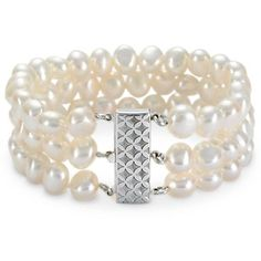 Triple-Strand Baroque Freshwater Cultured Pearl Bracelet in Sterling Silver (7.5mm)