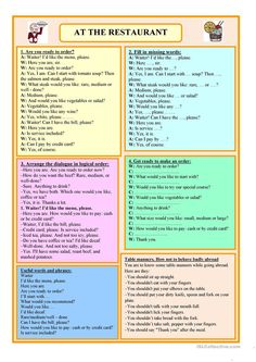 At The Restaurant worksheet – Free ESL printable worksheets made by teachers English Learning Spoken, Teaching English Grammar, Grammar And Vocabulary, English Language Learning, English Vocabulary, English Sentences, English Phrases, English Words, English Lessons