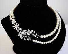 Bridal Necklace Pearl Necklace Vine Leaf Necklace by LuluSplendor
