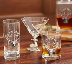 Stag Medallion Barware, Set of 2 #potterybarn  Would like to get  4 high ball, 4 traditional, and 4 martini