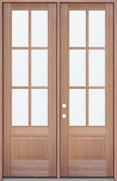 8 foot tall mahogany tiffany arch top double wood entry for Triple french doors exterior