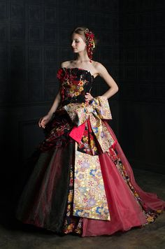 スポサ京都 京都 オーダーメイド ウェディングドレス | Color 2015 Fall Kimono Fashion, Fashion Dresses, Fashion Fashion, Music Dress, Fairytale Fashion, Disney Princess Dresses, Royal Dresses, Dress Drawing, Kimono Dress