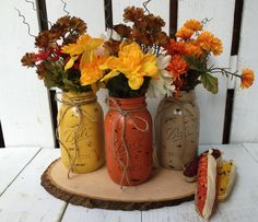 3 Quart Mason Jars,Fall Decor,Thanksgiving,Painted Mason Jar,Rustic Wedding Centerpieces,Flower Vases,Rustic Home Decor by LacyBellesBoutique on Etsy https://www.etsy.com/listing/198147845/3-quart-mason-jarsfall