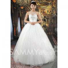 $89.12 Graceful Rhinestone and Paillette Embellished Sweetheart Neckline Ball Gown Wedding Dress For Bride