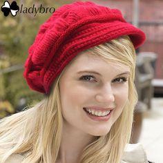 Ladybro High Quality Winter Knitted Hat Fashion Wool Women Beret Hat For Female Cap Warm Skullies Beanie Velvet Hat Lady Bonnets