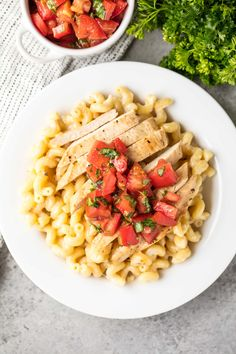 3 Cheese Chicken Cavatappi will have you feeling like they are eating at a restaurant. Creamy, cheesy pasta topped with grilled chicken & bruschetta.