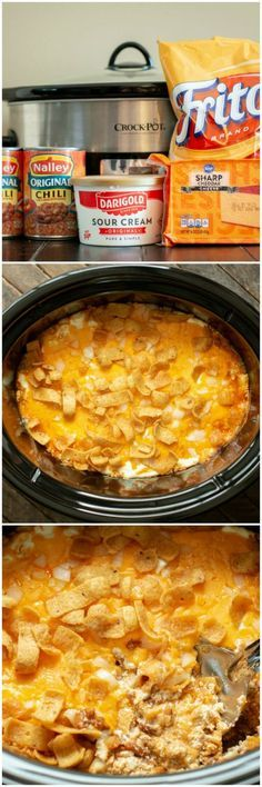 This Slow Cooker Chili Cheese Casserole is extremely carriageable. ~ Click the pin to see more ~ Easy Crockpot Recipes Slow Cooker Chili, Slow Cooker Recipes, Slow Cooker Dinners, Crock Pot Food, Crockpot Dishes, Crock Pots, Crock Pot Chili, Bon Dessert, Mexican Food Recipes