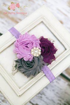 Purple, Grey & Dark Purple Headband, Baby Headband, Flower Headband, Shabby Chic Headband, Chiffon Headband. $6.95, via Etsy.