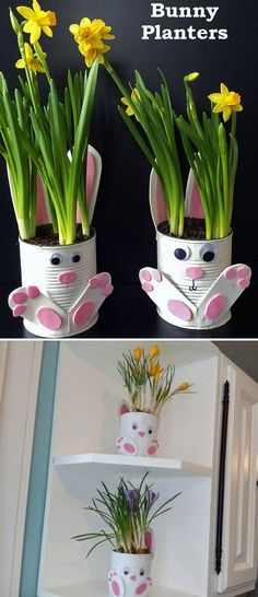 Make these cute tin can bunny planters for your tabletop decoration  #eastercrafts