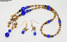 Art Nouveau Colbalt Blue Gold Lariat