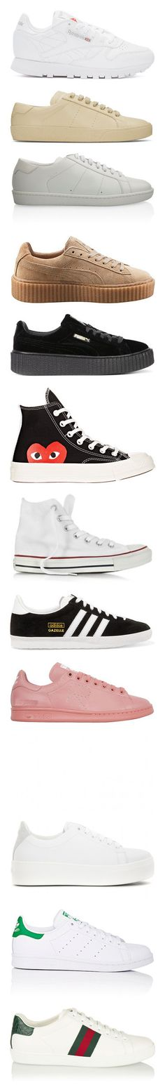 """""""Current shoe collection"""" by imadeintheuk ❤ liked on Polyvore featuring shoes, sneakers, shoes - sneakers, white, low profile sneakers, low top, reebok trainers, white lace up shoes, lace up sneakers and beige"""