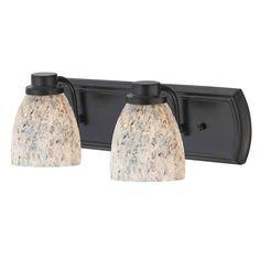 Design Classics Lighting 2-Light Bathroom Light with Grey Art Glass In Bronze 1202-36 GL1025MB