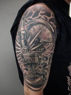 Harley Tattoos, Harley Davidson Tattoos, Biker Tattoos, Warrior Tattoos, Arm Band Tattoo, I Tattoo, Wrench Tattoo, Body Art Tattoos, Cool Tattoos