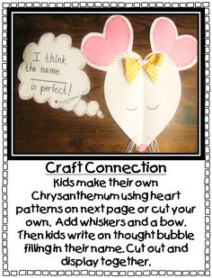 Chrysanthemum By Kevin Henkes Printables First Grade Wow ChrysanthemumWhat a Perfect name Beginning Of The School Year, First Day Of School, School Fun, Back To School, School Ideas, School Life, Summer School, School Stuff, Chrysanthemum Activities