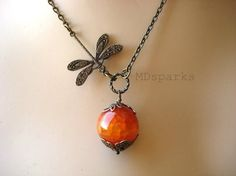 Dragonfly Necklace in Fire Agate by MDsparks on Etsy, $19.00
