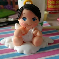 Polymer Clay Projects, Clay Crafts, Paper Clay, Clay Art, Clay Angel, How To Make Clay, Polymer Clay Christmas, Angel Crafts, Clay Figurine
