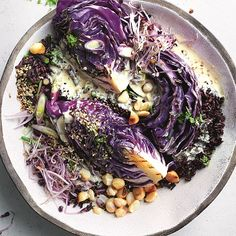 Salad Recipes, Healthy Recipes, Healthy Food, Onion Sprouts, Red Cabbage Salad, Tahini Paste, Cooking Instructions, Nut Butter