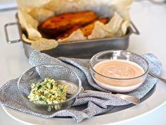 Bataatti ja kaksi dippiä – Sikeltä sinulle Pudding, Desserts, Food, Interior, Meal, Indoor, Custard Pudding, Deserts, Essen