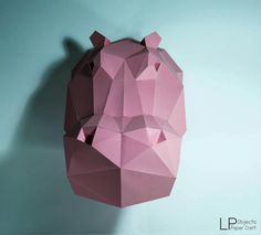 Hippo HeadHippo paper Hippo lowpoly Paper Trophy por LPobjects