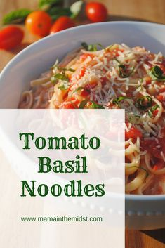 Tomato Basil Noodles Sub pasta for Zoodles to make it low carb! Summer Recipes, New Recipes, Favorite Recipes, Healthy Recipes, Recipies, Pasta Side Dishes, Side Dishes Easy, Pasta Recipes, Dinner Recipes