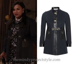 """If you were finding this scene too angsty in """"The Parent Trap"""" then there was plenty of detail to admire on Mindy's navy and black coat, from the faux-leather trim, turnlock fastenings and Vs on the pockets."""