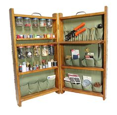 Folding sewing cabinet convenient to tote & fitting for small storage space.