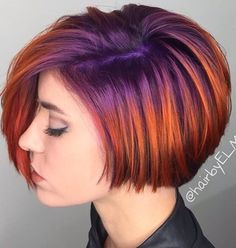 Violet rooted into fiery orange hair color. Purple and orange hair. by @hairbyelm
