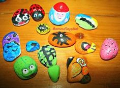 Rock Painting For Kids Painted Rock Painting Ideas Easy, Rock Painting Designs, Painting For Kids, Paint Designs, Art For Kids, Painting Art, Painting Flowers, Goth Home Decor, Painted Rocks Kids