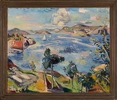 """PER DEBERITZ DRØBAK 1880 - OSLO 1945  """"Sommerdag innover Kragerøfjorden"""" 1930 Olje på lerret, 71x85 cm Signert og datert nede til venstre: P. Deberitz 30 Stedsbenevnt bak på blindrammen: Skaatøy"""