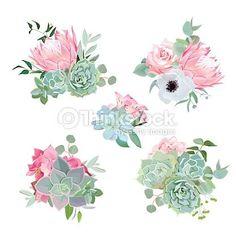 Stylish Small Bouquets Of Succulents Protea Rose Anemone Echeveria Hydrangea Vector Art Flor Protea, Protea Art, Protea Flower, Flower Tea, Succulent Tattoo, Succulent Bouquet, Purple Succulents, Small Succulents, Echeveria