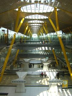Barajas Airport - Terminal Madrid, Spain by betta design. Spanish Architecture, Architecture Design, Estudio Lamela, Airport Design, Exhibition Building, Foto Madrid, Airport Photos, Architectural Elements, Spain Travel