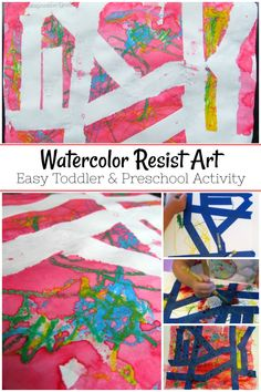 Use watercolors and oil pastels todo this open-ended art activity for toddlers! Works great for preschoolers too! A simple process art idea to do with kids at home or in the classroom. Toddler Art Projects, Easy Art Projects, Toddler Crafts, Projects For Kids, Crafts For Kids, Art Activities For Toddlers, Preschool Activities, Easy Art For Kids, Process Art