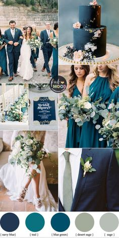 Navy Blue, Sage and Teal Wedding Color Combos Happy New Year To you & your family. Wishing you all a glorious New Year. Hope that 2020 will reward all your future dreams with success. Thank you to you all for the love and support Fab Mood so generously. Wedding Color Combinations, Wedding Color Schemes, Color Combos, Wedding Colour Palettes, Color Palettes, Sage Wedding, Wedding Hair, Wedding Navy Blue, Burgundy Wedding