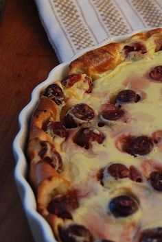 Clafouti recipe: classic cherry dessert from Hardy Hardy MacLachlan. Delicious with sweet or tart cherries, apricots all the way through to autumn pears, Janine's Hardy MacLachlan Cherry Desserts, Cherry Recipes, Sweet Desserts, Fruit Recipes, Fall Recipes, My Recipes, Holiday Recipes, Delicious Desserts, Dessert Recipes