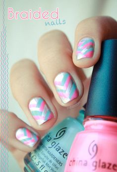 Braided Nail Tutorial #stripes #nails #nailart #blue #pink #silver - bellashoot.com