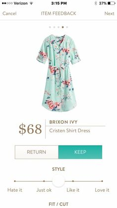 PLEASE. I would LOVE to see this in my fix if it hits at or below the knee. I LOVE the color and the print and the buttons would be compatible with nursing! #stitchfix Brixton Ivy Cristen Shirt Dress Mint green and pink floral