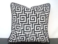 Black and white outdoor pillow cover in 16x16 greek by anitascasa
