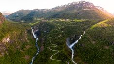 "The beautiful waterfalls in Stalheim, Norway. To the left ""Stalheimsfossen"" waterfall and to the left ""Sivlefossen"" waterfall. Beautiful Waterfalls, Mount Rainier, Norway, Mountains, Nature, Landscapes, Travel, Paisajes, Voyage"