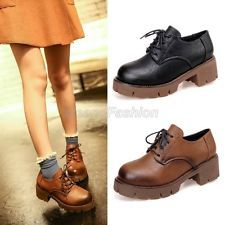 Womens Ladies Retro Lace Up Platform Chunky Mid Heel Military Oxford Shoes A8