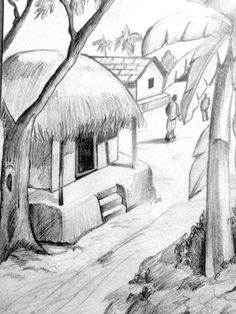 Ideas Landscape Drawing Pencil Sketches Easy For 2019 Easy Pencil Drawings, Pencil Drawing Images, Art Drawings For Kids, Art Drawings Sketches Simple, Pencil Art Drawings, Beautiful Drawings, Easy 3d Drawing, Pencil Drawing Inspiration, Shading Drawing