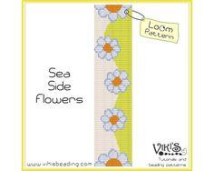 Loom Bracelet Pattern: Sea Side Flowers  INSTANT DOWNLOAD pdf