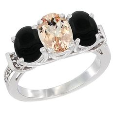 14K White Gold Natural Morganite and Black Onyx Sides Ring 3-Stone Oval Diamond Accent, sizes 5 - 10 * Quickly view this special  product, click the image : Jewelry Ring Bands