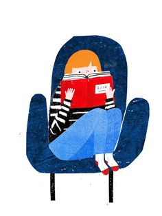 pgcclibrary:  The weekend is here, let the reading marathons begin! Art by Grace Easton   Amen!