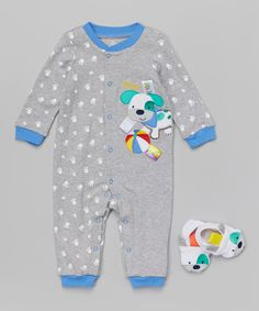 Look at this #zulilyfind! Gray Dog Playsuit & White Booties - Infant by Taggies #zulilyfinds